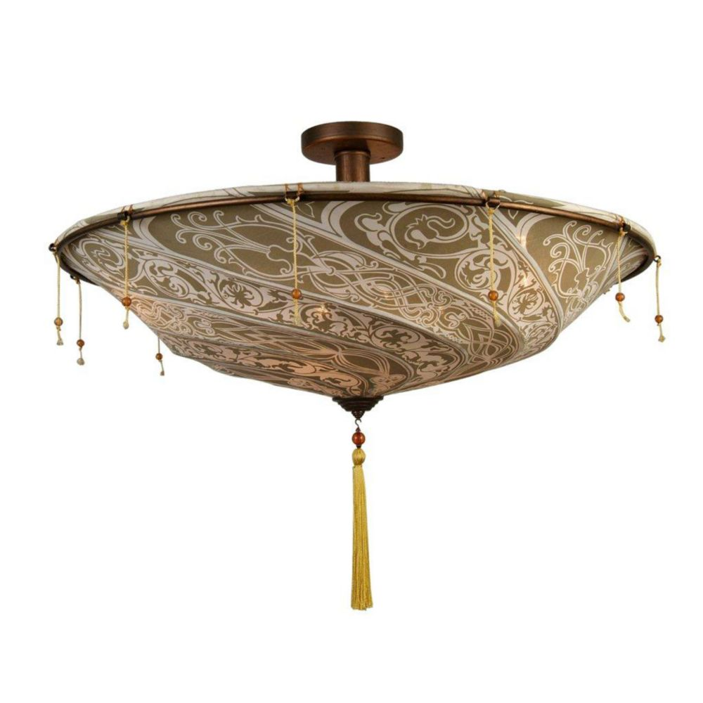 4 Light Ceiling Lamp LIGHT Brown Finish/Beige Finish