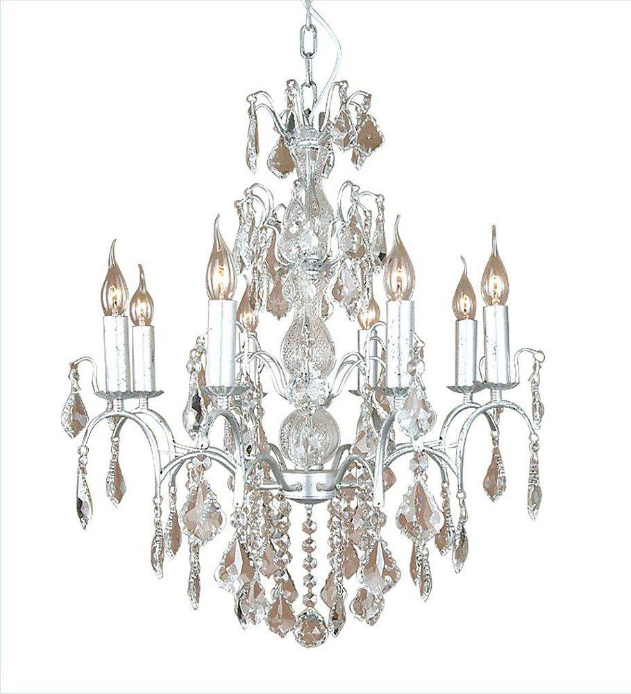 8 Light Ceiling Fixture Silver Finish