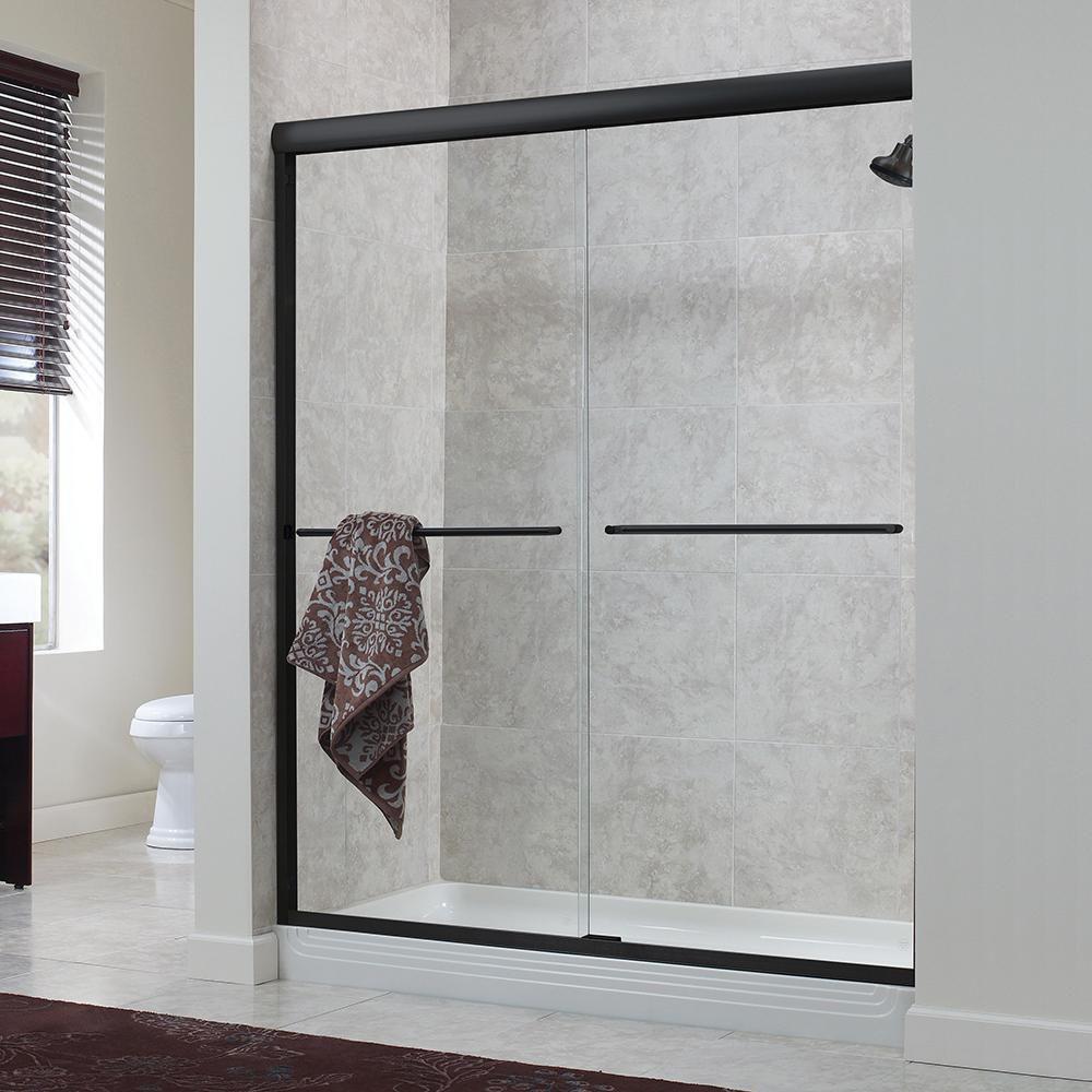 Porte de douche en bronze huilé coulissante sans cadre, avec verre transparent de 1/4 po, 56 po à...