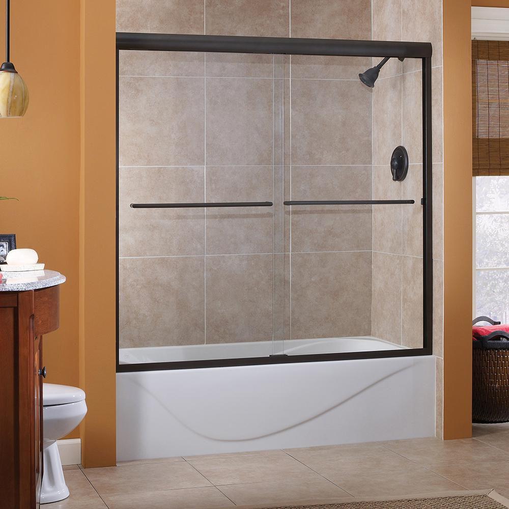 Porte de baignoire en bronze huilé coulissante sans cadre, avec verre transparent de 1/4 po, 56 p...