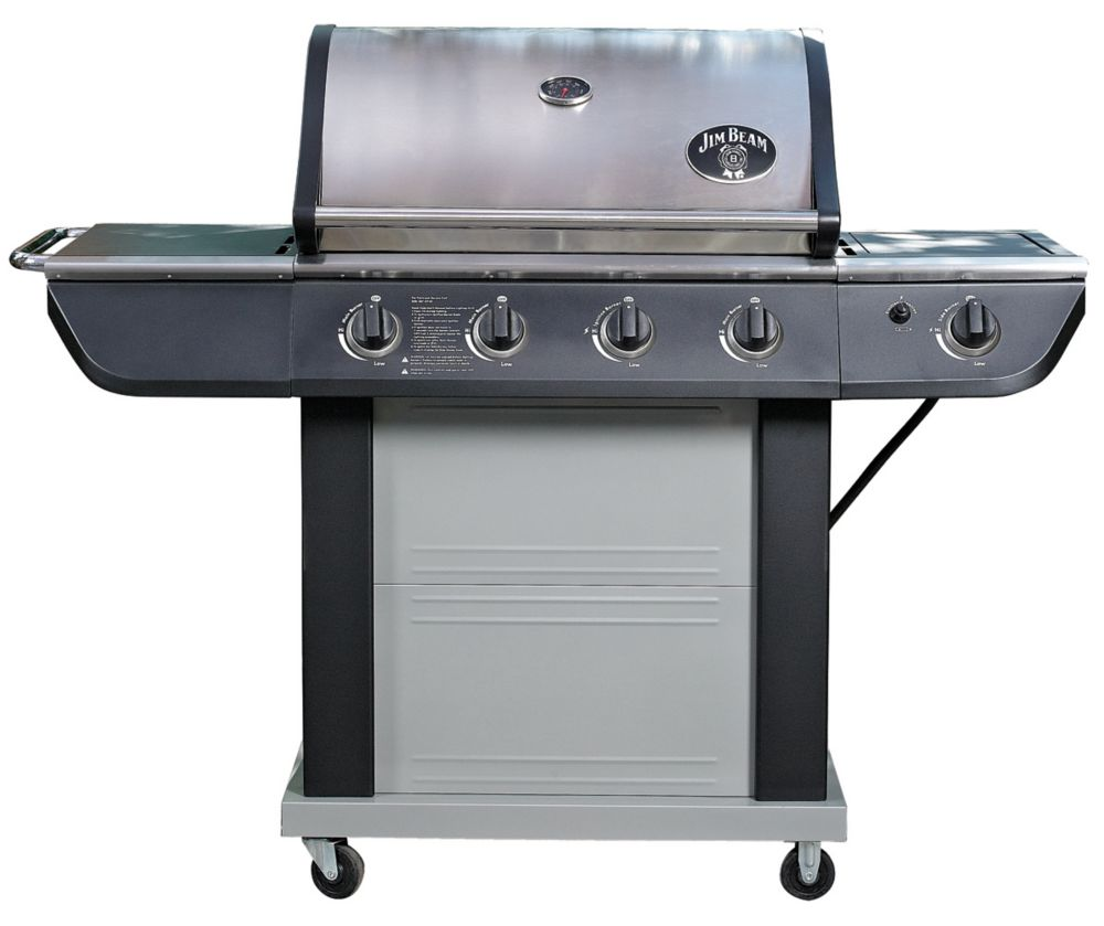 Jim Beam 4-Burner BBQ in Stainless Steel