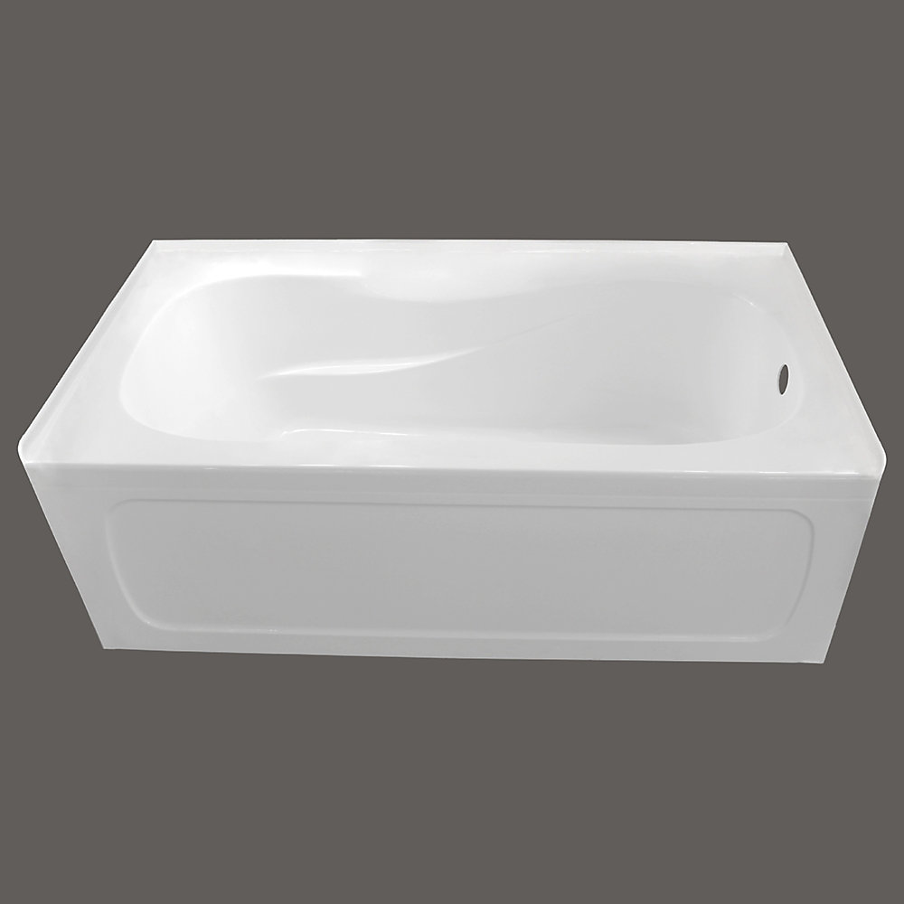 66-inch x 32-inch Pro Acrylic Right-Hand Drain Non-Whirlpool Skirted Bathtub in White