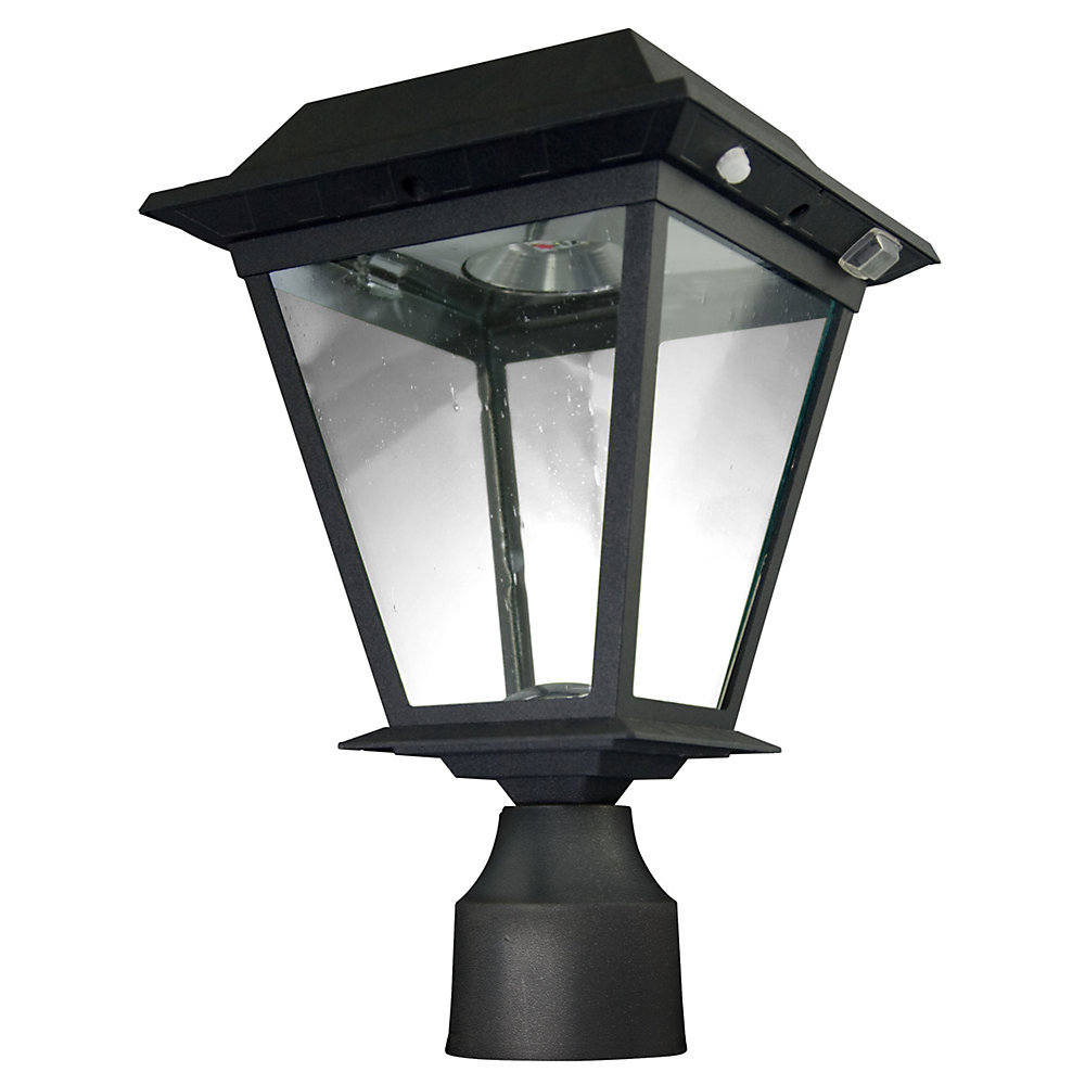 Wall/Deck/Post Mount Outdoor Black Motion Activated Solar Powered LED Lantern Head