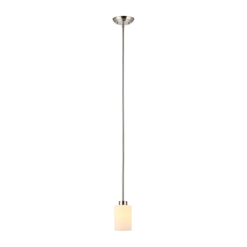 Commercial Electric 1-Light 60W Brushed Nickel Chandelier with Matte White Glass Shades