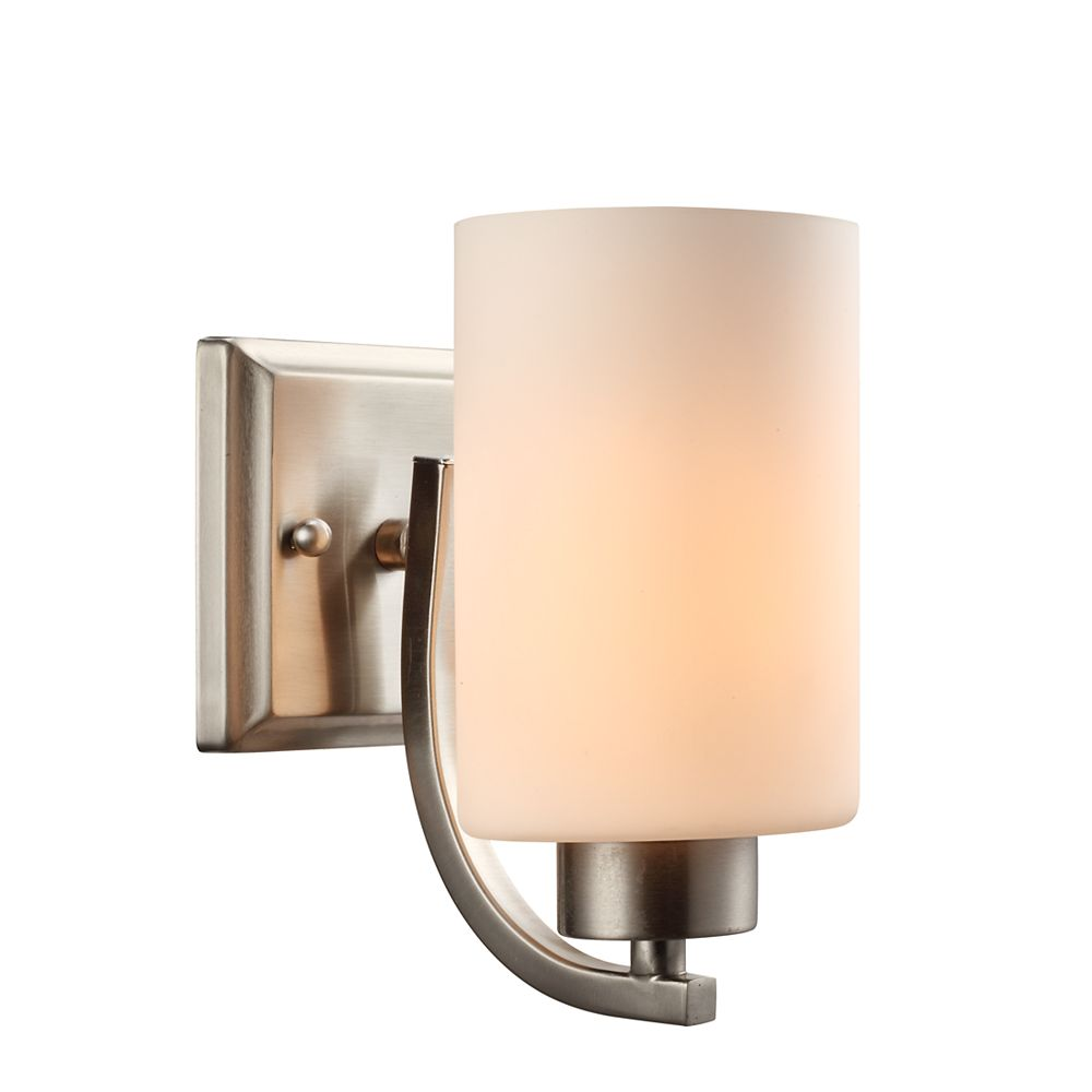Commercial Electric 1-Light Brushed Nickel Sconce with Matte White Glass Shades
