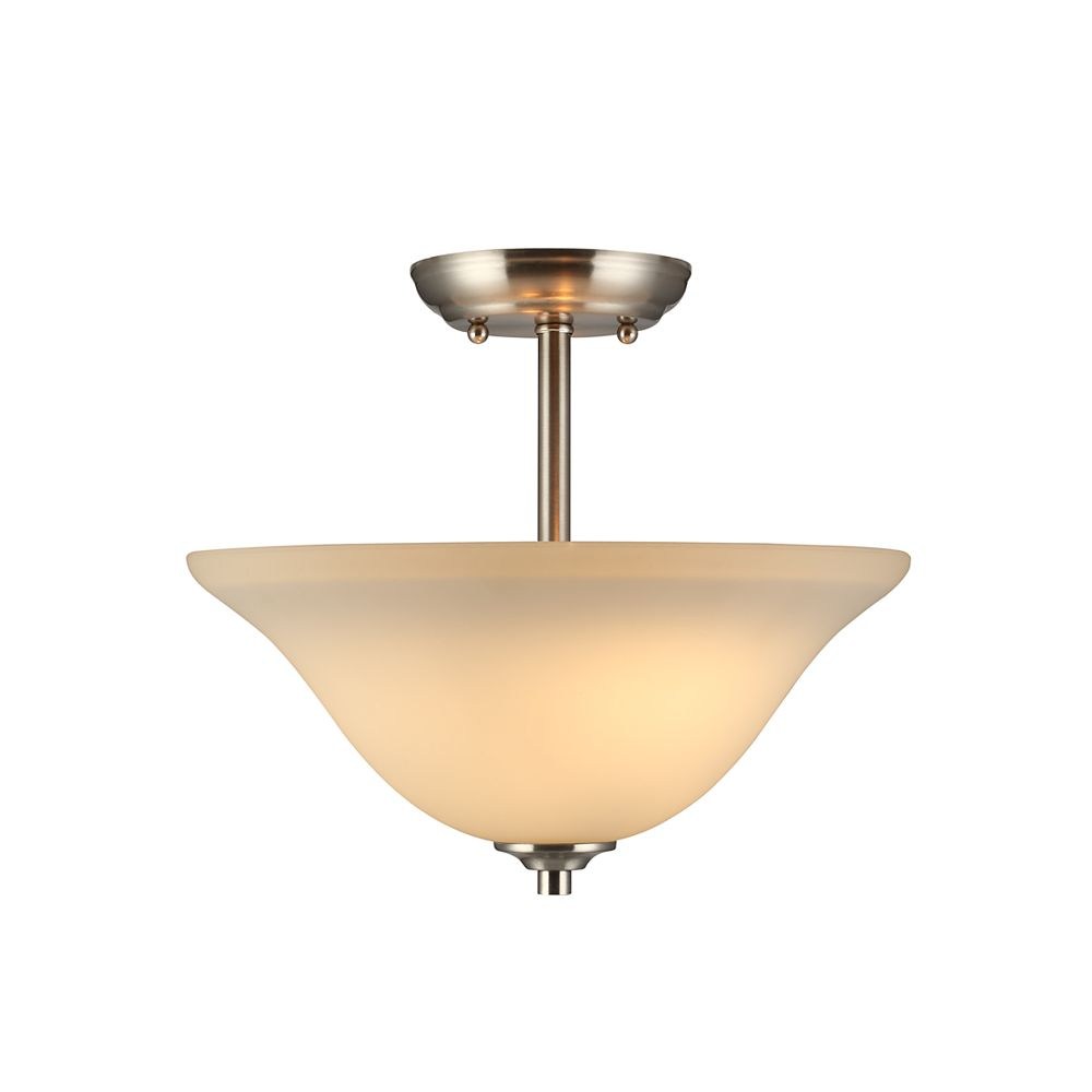 Commercial Electric 2-Light Brushed Nickel Semi-Flushmount Ceiling Light with Matte White Glass Shade