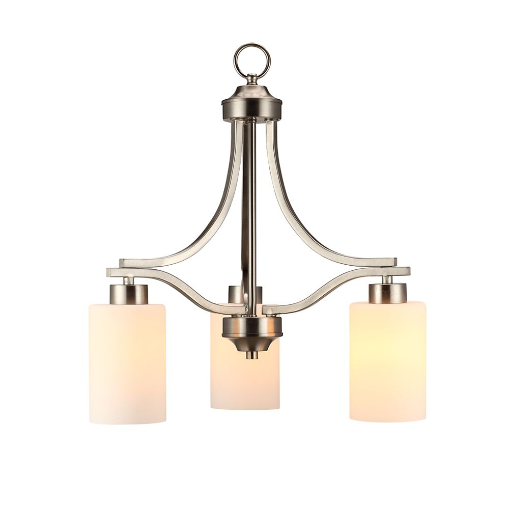 Commercial Electric 3-Light 60W Brushed Nickel Chandelier with Matte White Glass Shades
