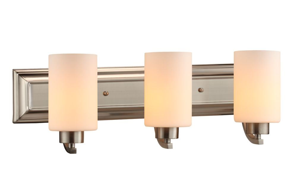 Commercial Electric 3-Light Brushed Nickel Vanity Light with Matte White Glass Shades