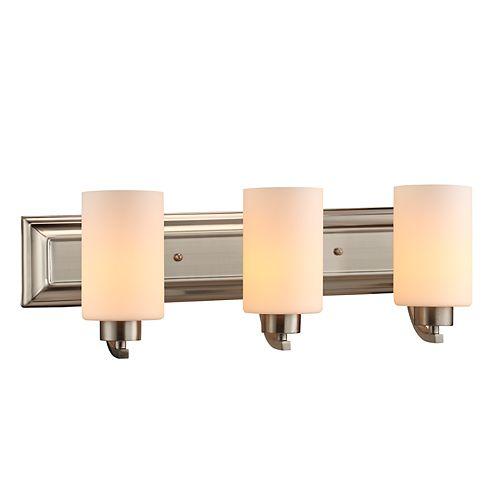 Commercial Electric Applique de salle de bains, nickel brossé, 3ampoules, diffuseurs en verre blanc mat
