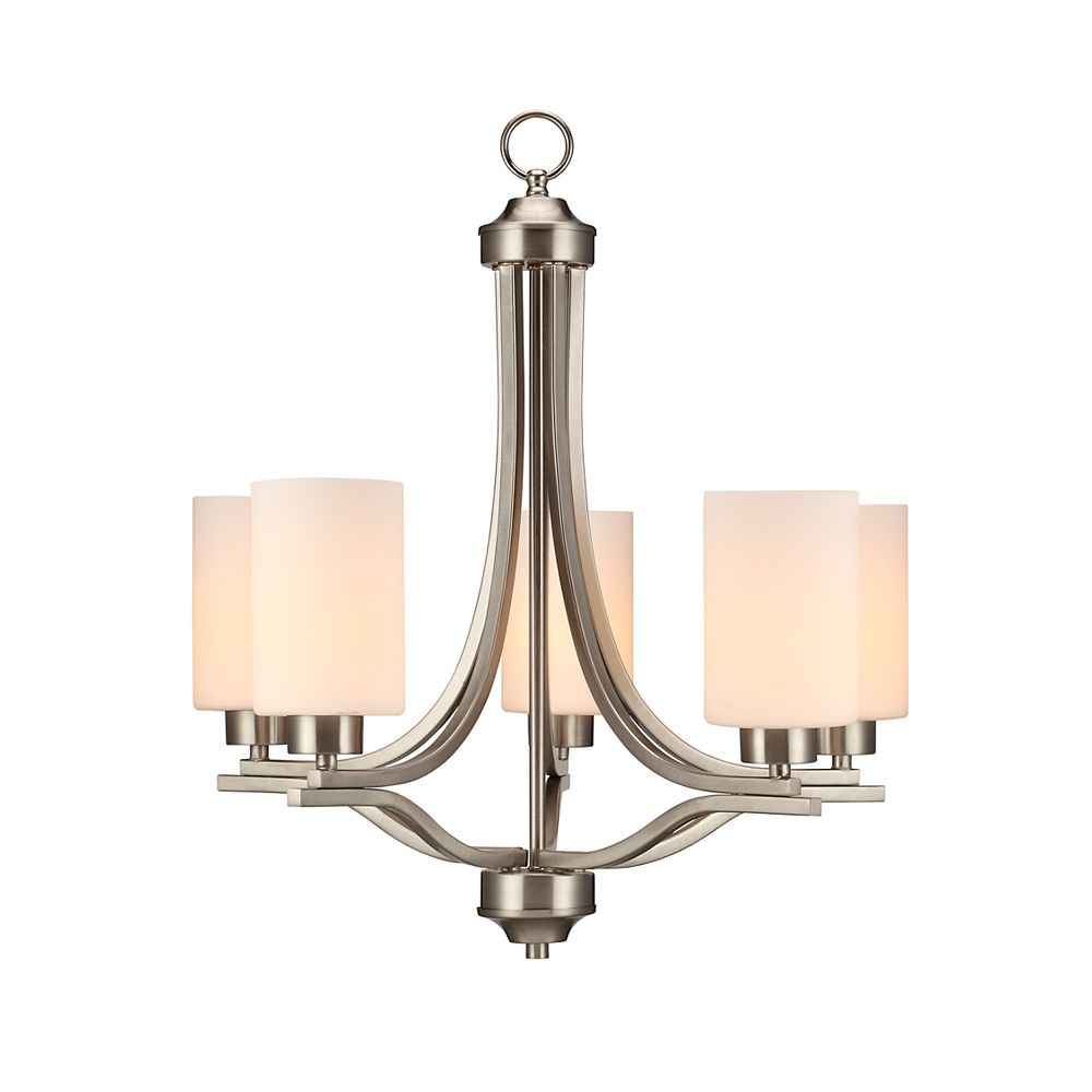 Commercial Electric 5-Light 60W Brushed Nickel Chandelier with Matte White Glass Shades