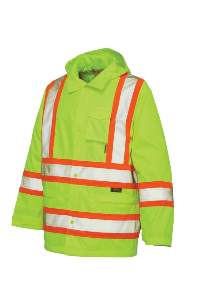 Hi-Vis Rain Jacket With Safety Stripes Yellow/Green Small