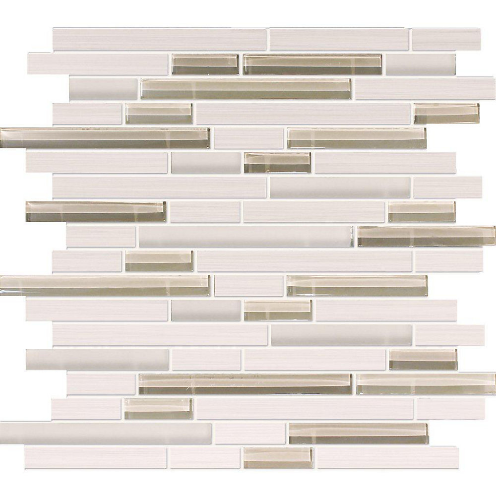 Waterfall Bamboo Oyster Porcelain Glass Linear Blend Mosaic