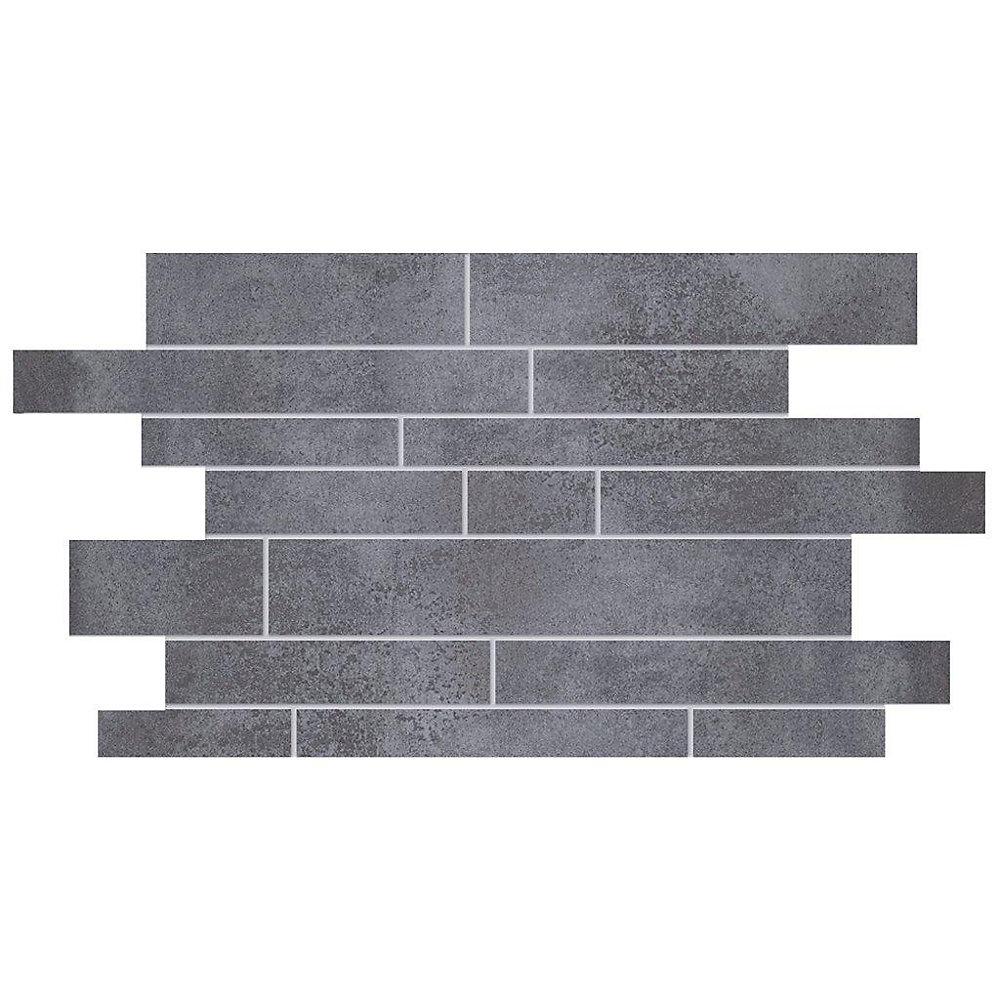 Interlocking 19-inch x 12.25-inch Porcelain Mosaic Tile in Metallic Black