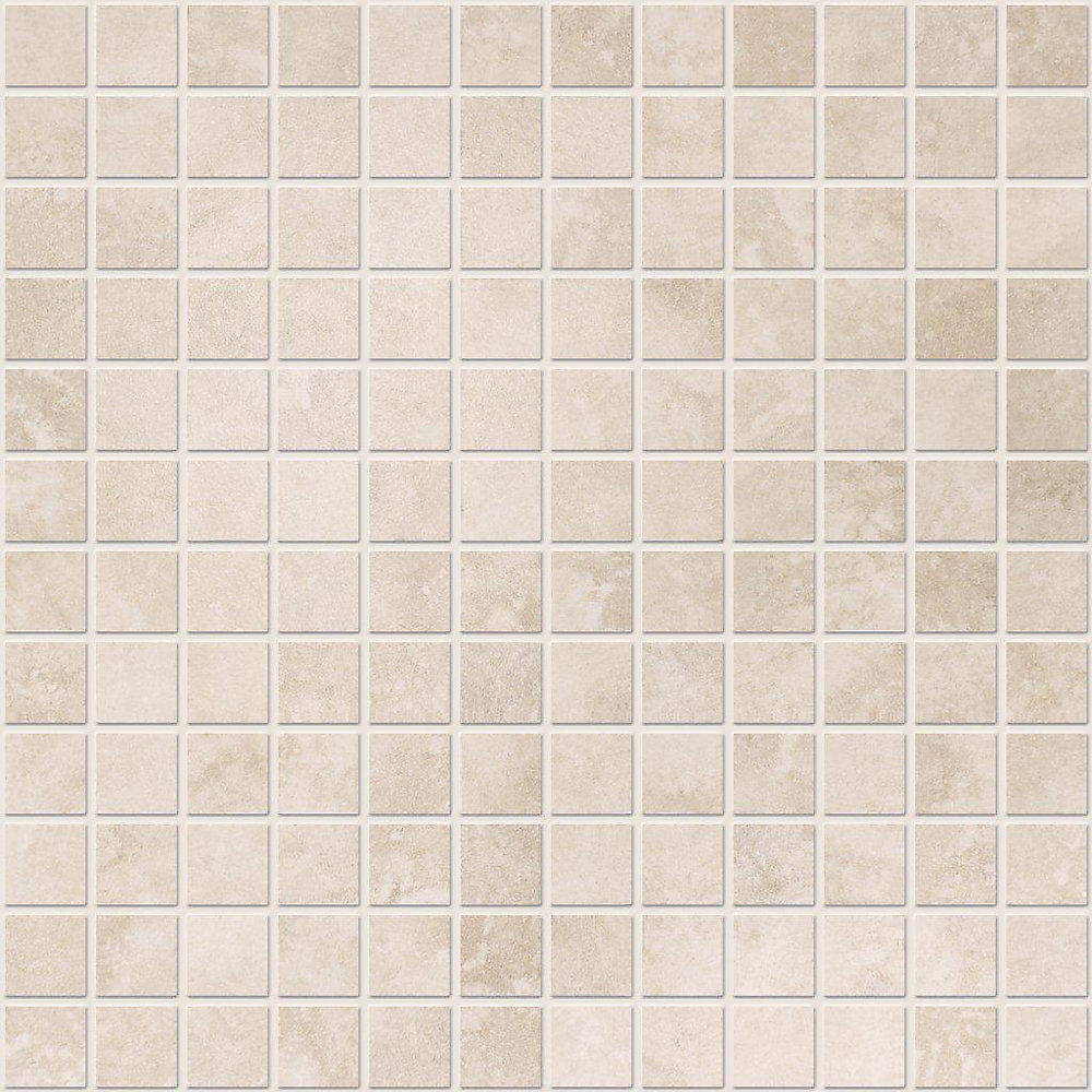1-inch x 1-inch Ceramic Mosaic Tile in Ivory