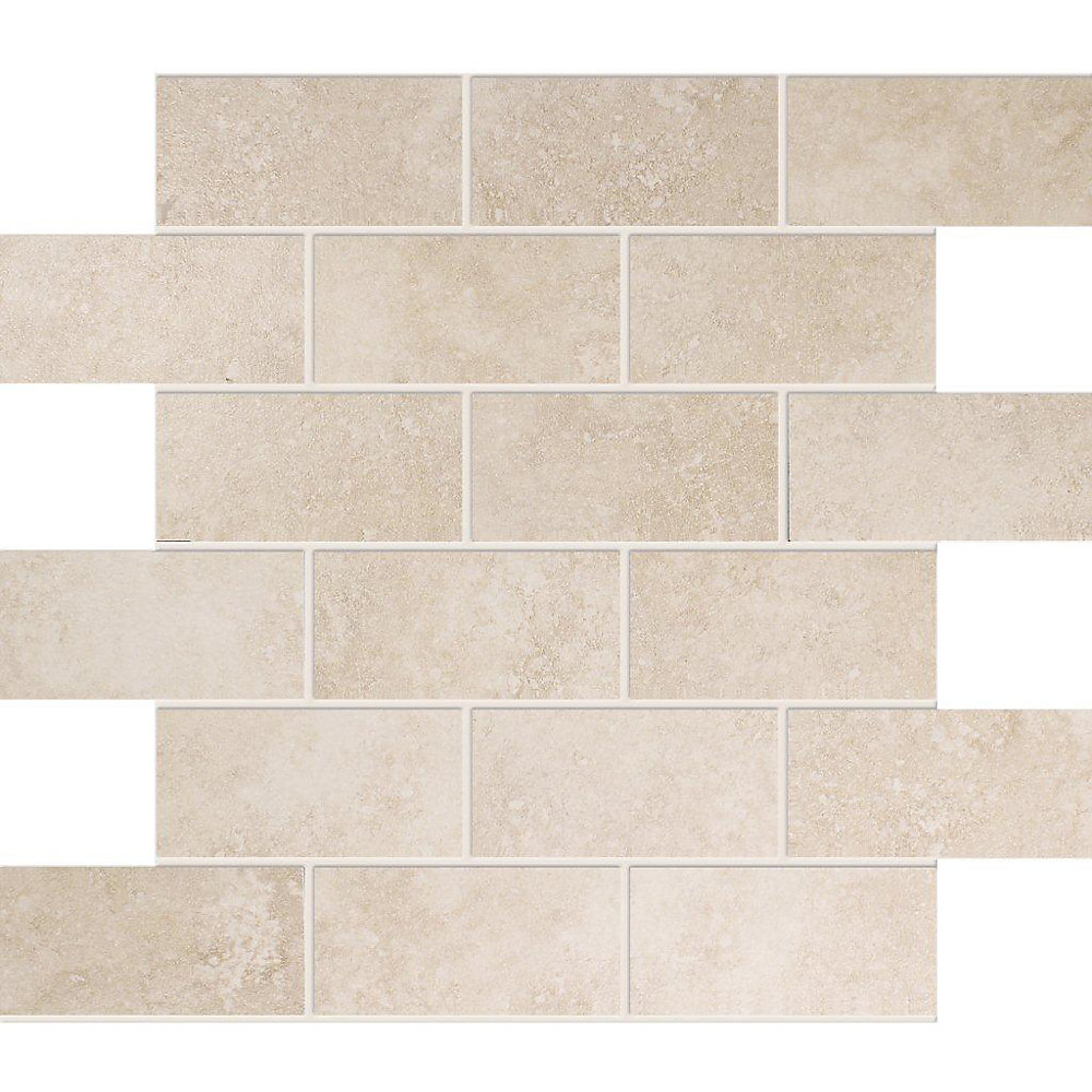 2-inch x 4-inch Ceramic Mosaic Tile in Ivory