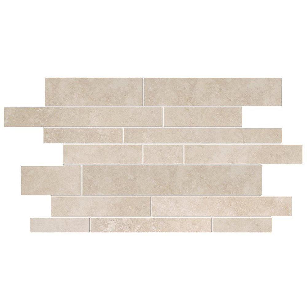 19-inch x 12.25-inch Interlock Ceramic Mosaic Tile in Ivory