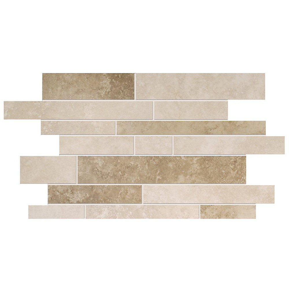 Noce Ceramic 19-inch x 12.25-inch Interlock Mosaic Tile in Ivory