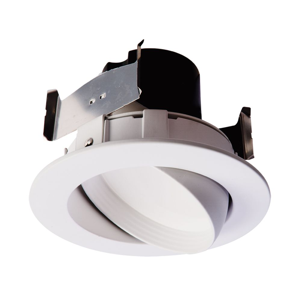 4 in LED Adj.Gimbal White Baffle and Trim Ring