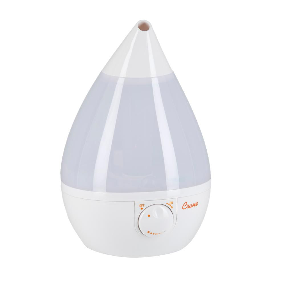 Crane Ultrasonic Cool Mist Humidifier, White Drop Shape