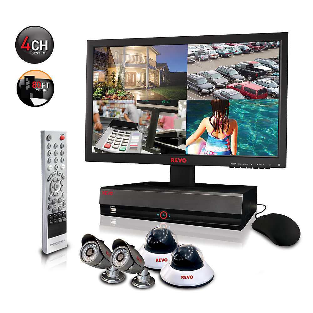 Security Surveillance System with 4 Channel 1TB DVR4, 18.5 Inch Monitor and (4)600TVL 80 Ft Nightvision Cameras