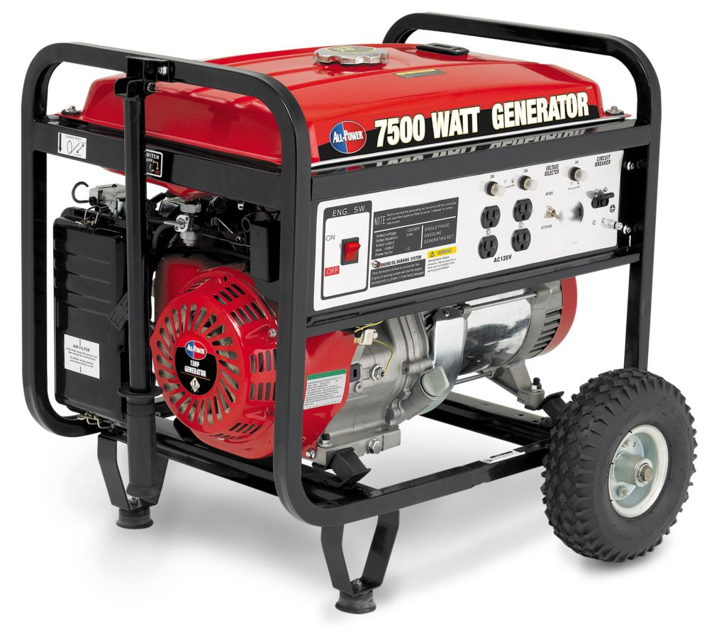 All Power APG3303 generator delivers 7500 w Peak 6000 w Rated