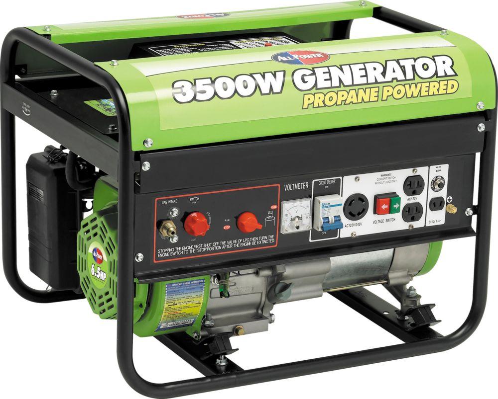 3500 Watt Peak 6.5HP OHV Propane Powered Generator
