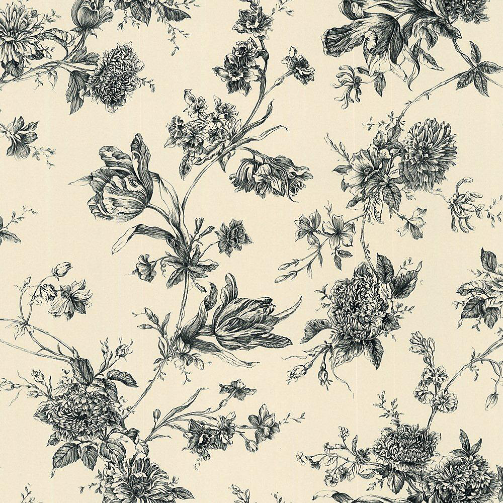 20.5 In. W Black and Crème Large Floral Wallpaper