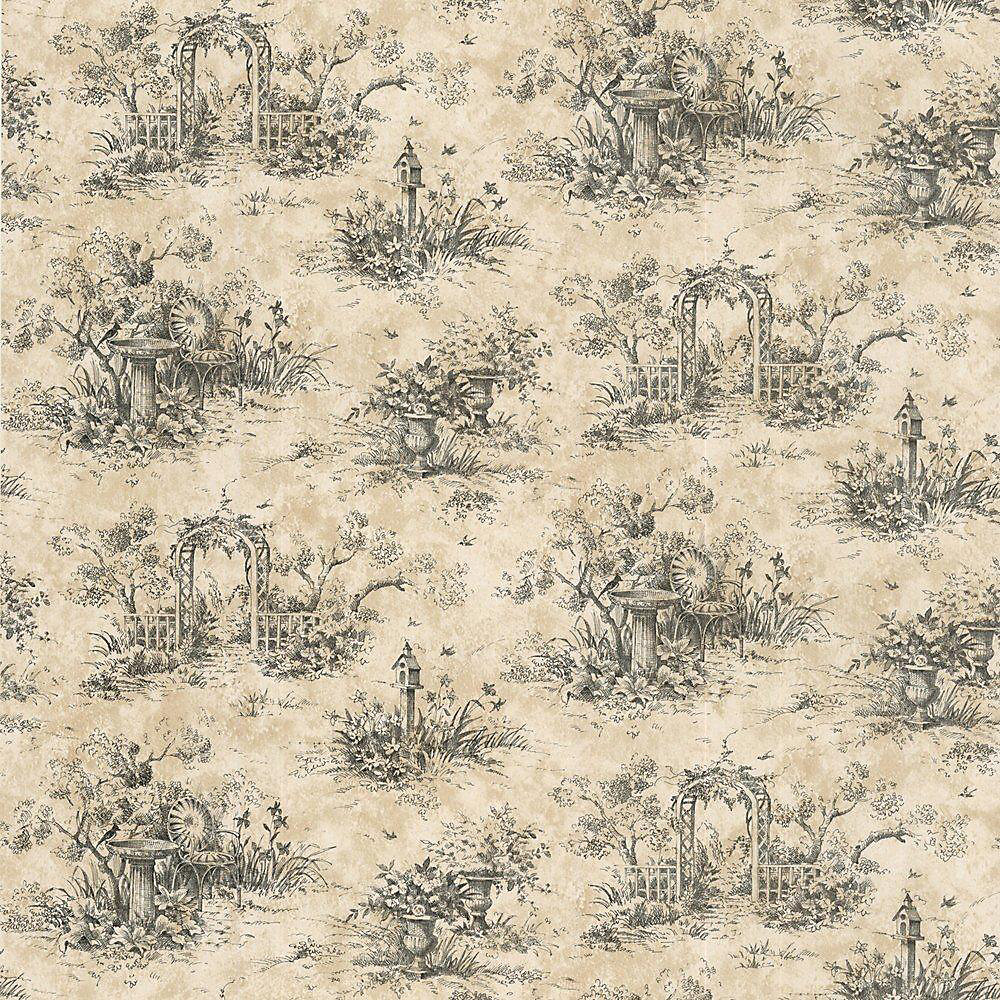20.5 In. W Black Country Toile Wallpaper