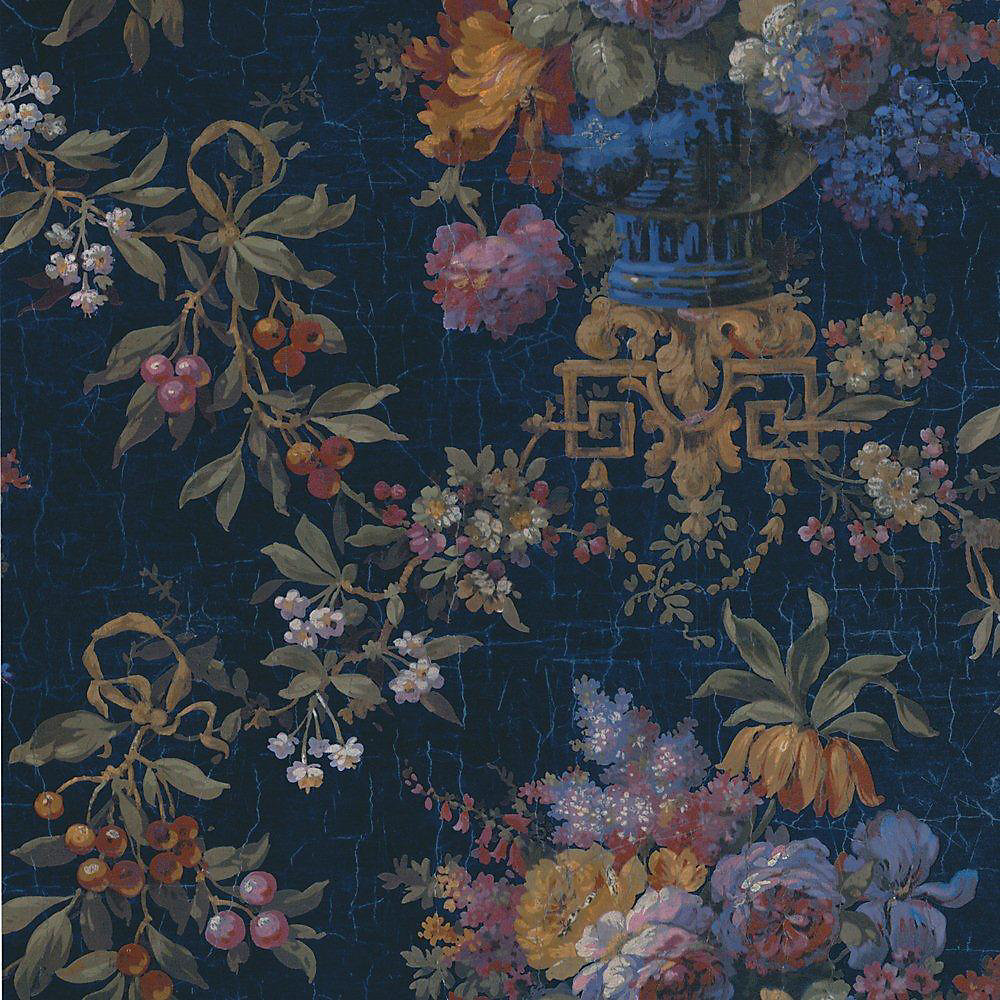 20.5 In. W Blue Large Rose and Berries Floral Wallpaper