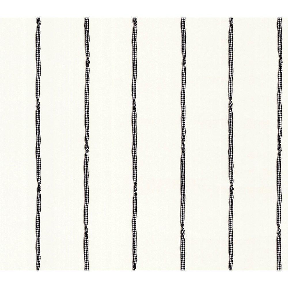 20.5 In. W Black and White Ribbon Stripe Wallpaper