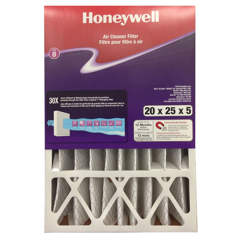 Filtre de purification de l'air de Honeywell - 20 po. X 25 po. X 5 po.