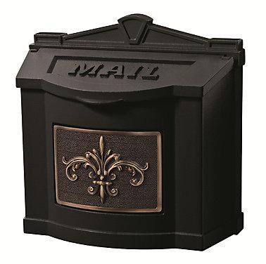 Wallmount Mailbox Black w/ Antique Bronze Fleur de Lis Accent