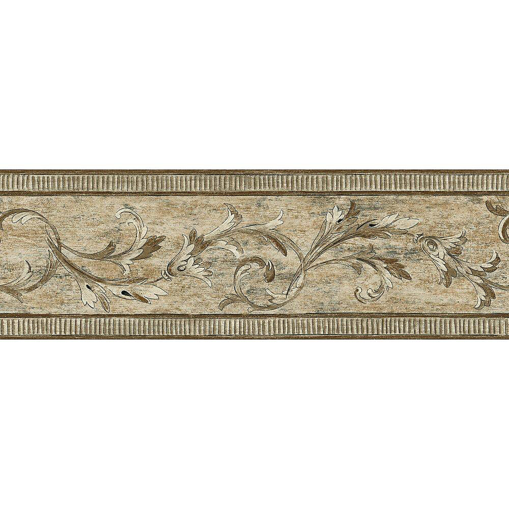 7 In. H Brown Architectural Scroll Border