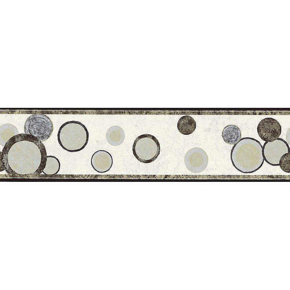 6.75 In. H Black, Gold and Silver Contemporary Circles Border