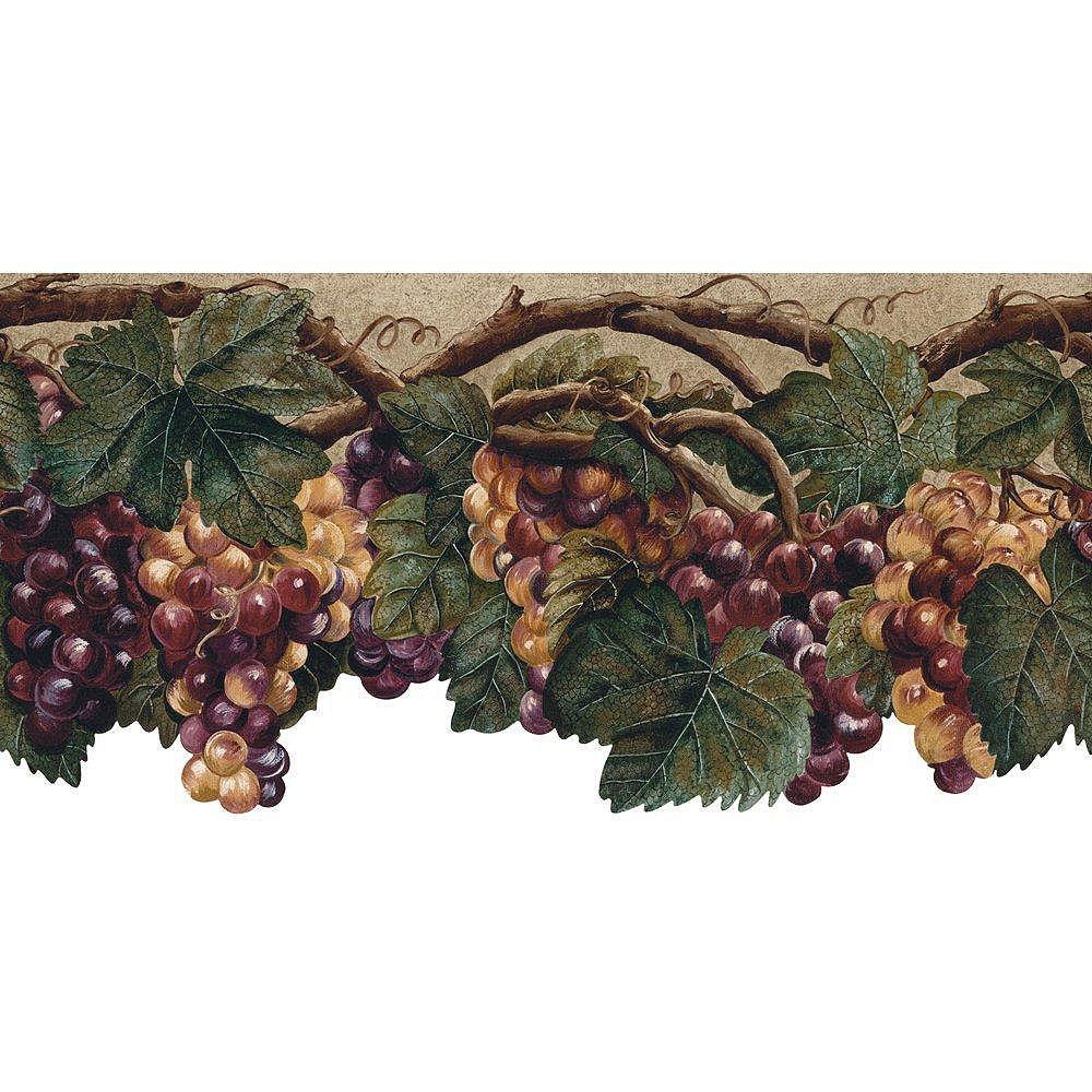 The Wallpaper Company 10.25 In. H Purple Die Cut Fruit Border