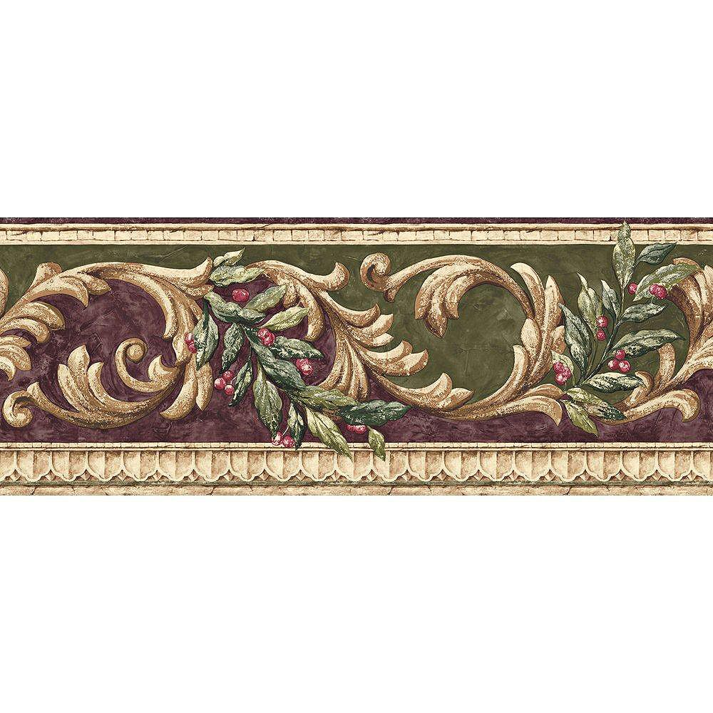 The Wallpaper Company 8 In. H Purple and Green Earth Tone Scroll Border