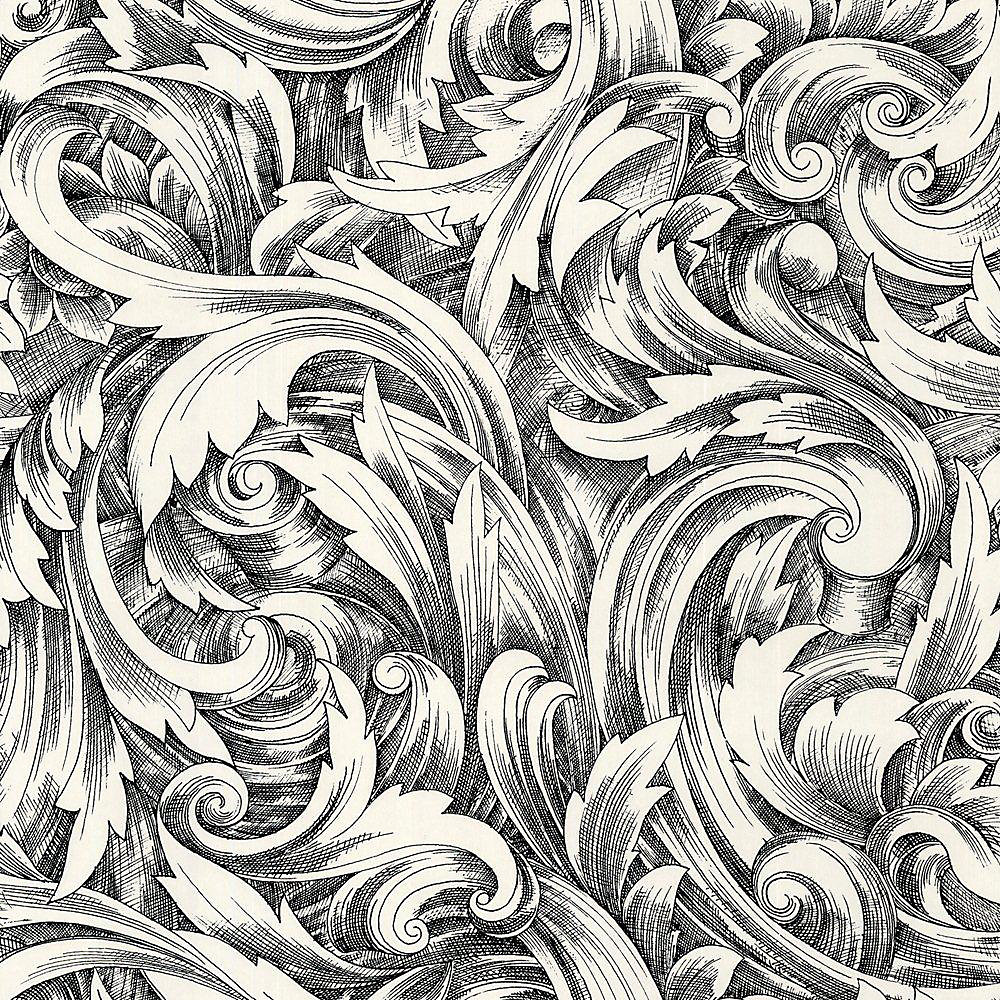 20.5 In. W Black and White Leaf Scroll Wallpaper