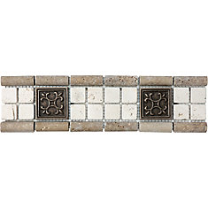3-inch x 12-inch Chiaro with 2-inch x 2-inch Metal Listello Tile