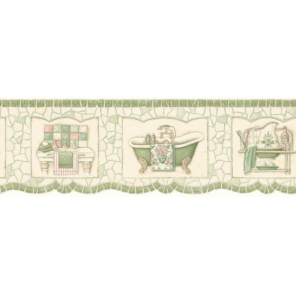 6.75 In. H Green Pastel Mosaic Bath Tub Border
