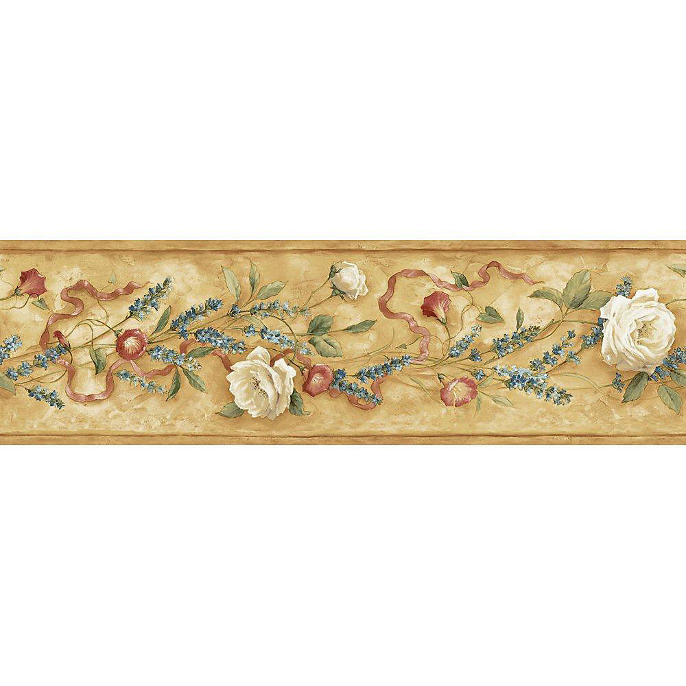 6.13 In. H Brown Earth Tone Floral Trail Border