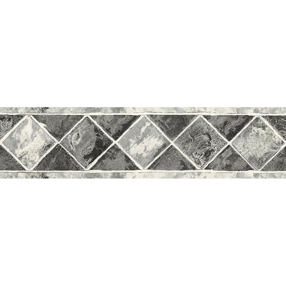 6.75 In. H Black and Silver Contemporary Tile Border