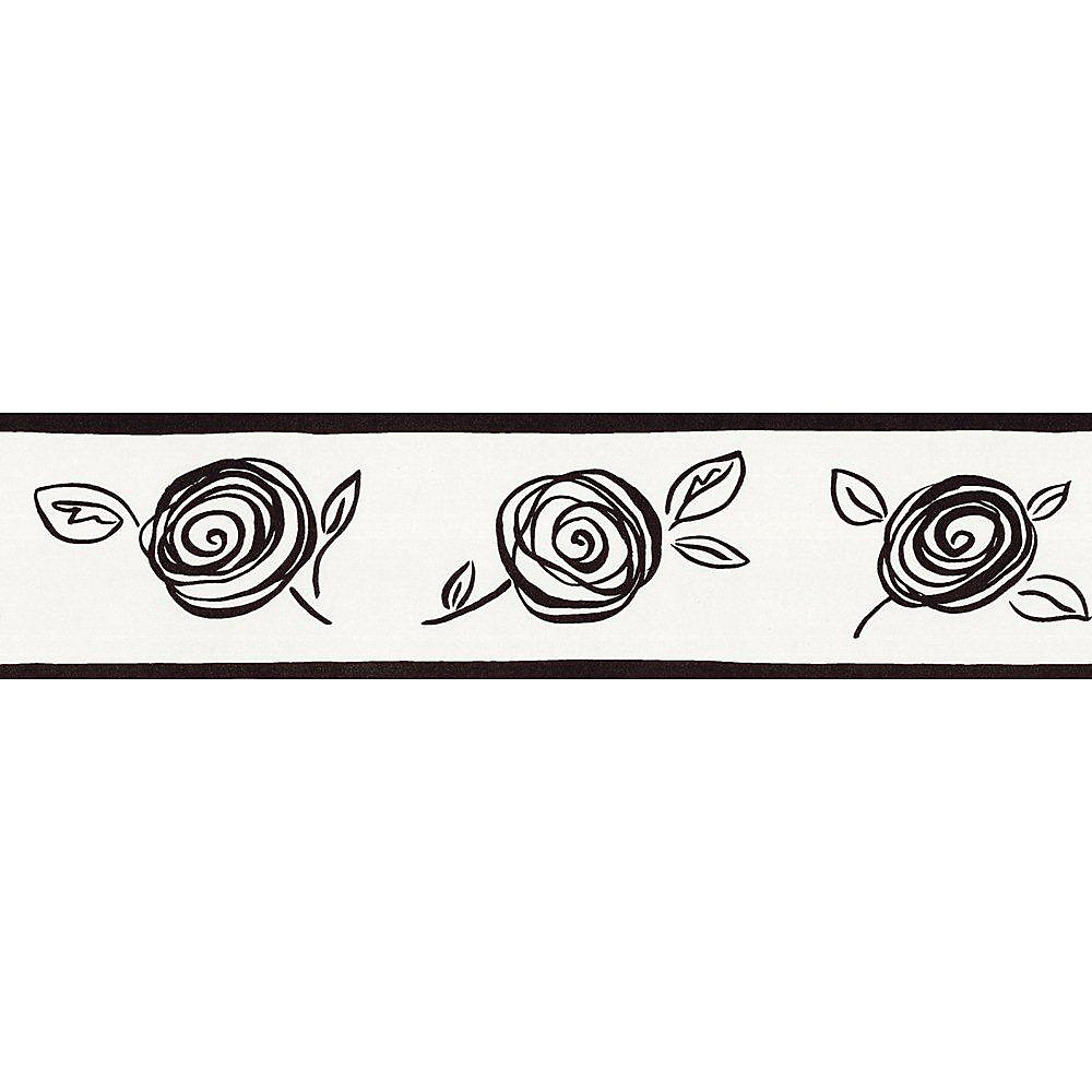 5.13 In. H Black and White Contemporary Floral Border