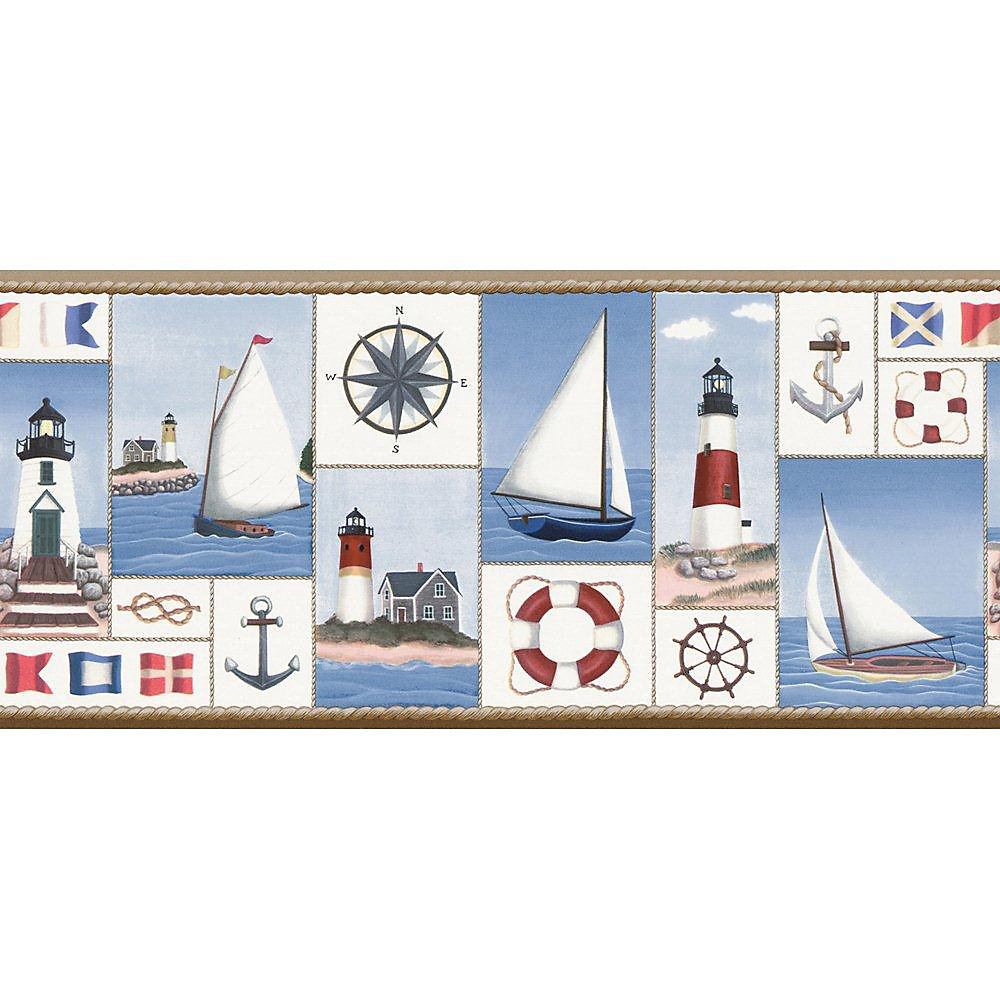 8.25 In. H Blue Nautical Collage Border