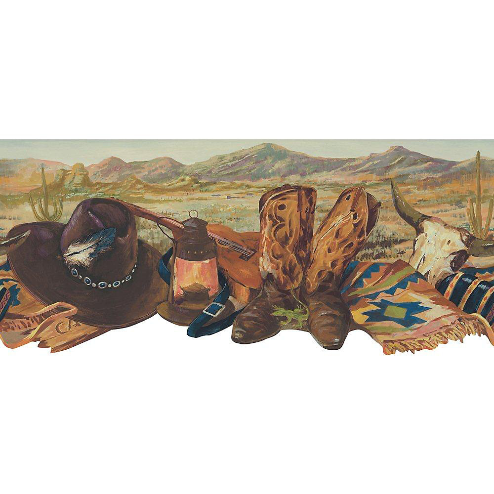 9.13 In. H Brown Southwest Cowboy Boots Border