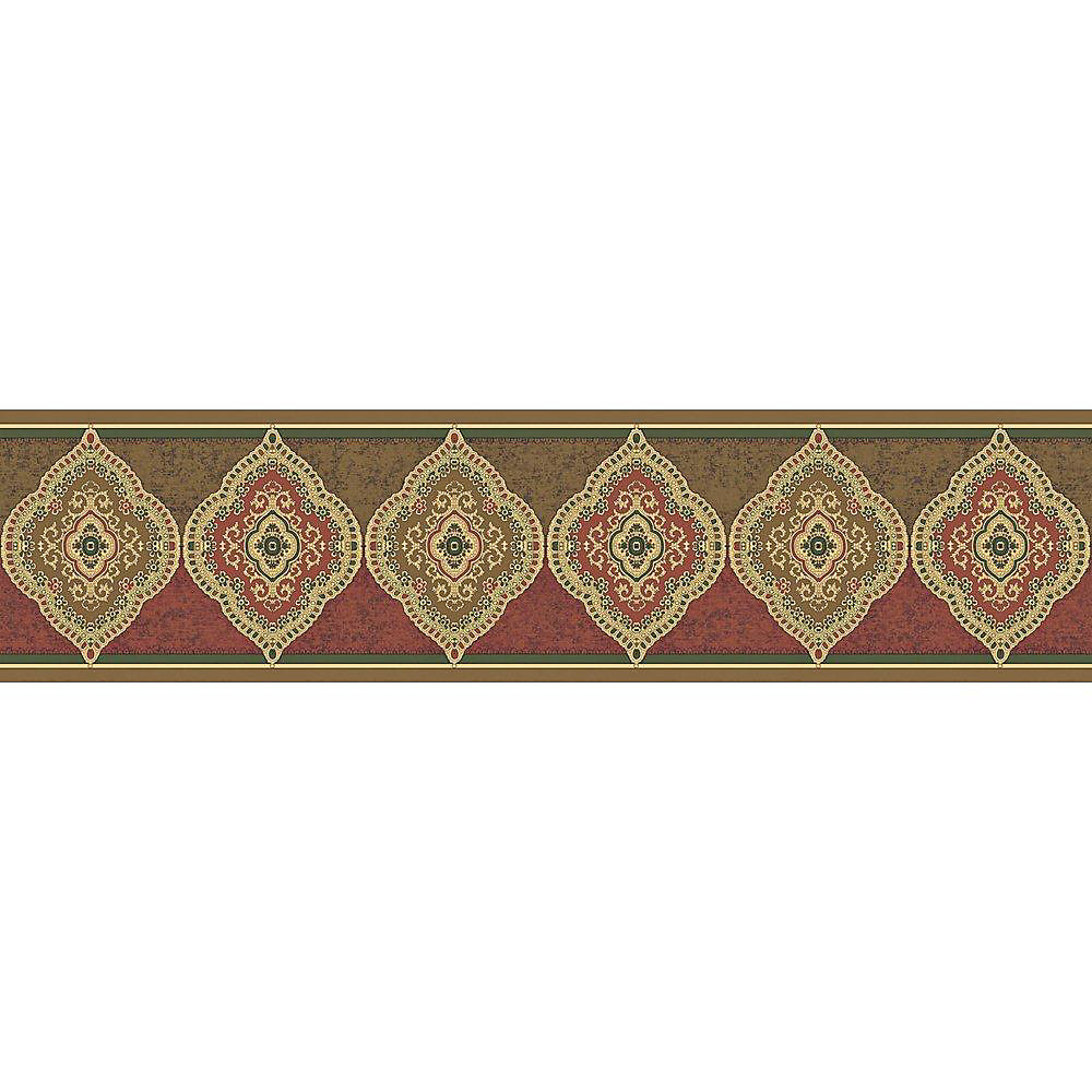 5.13 In. H Red and Brown Earth Tone Traditional Paisley Border