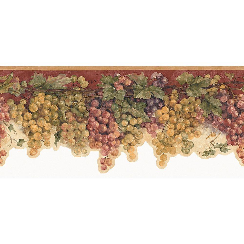 8 In. H Red Mid-Tone Grape Watercolor Border