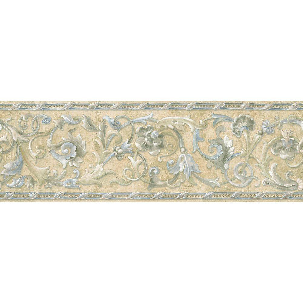 6.83 In. H Blue and Beige Floral Scroll Border