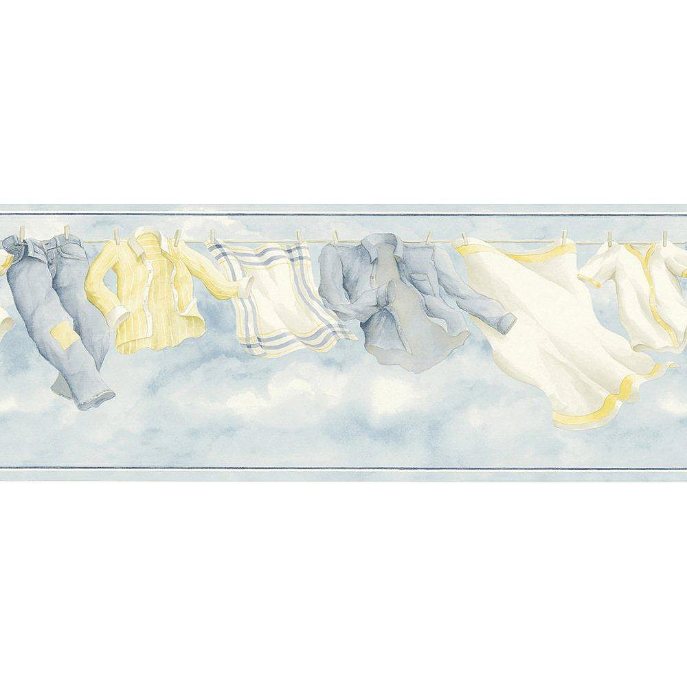 The Wallpaper Company 8.5 In. H Blue Laundry Breeze Border