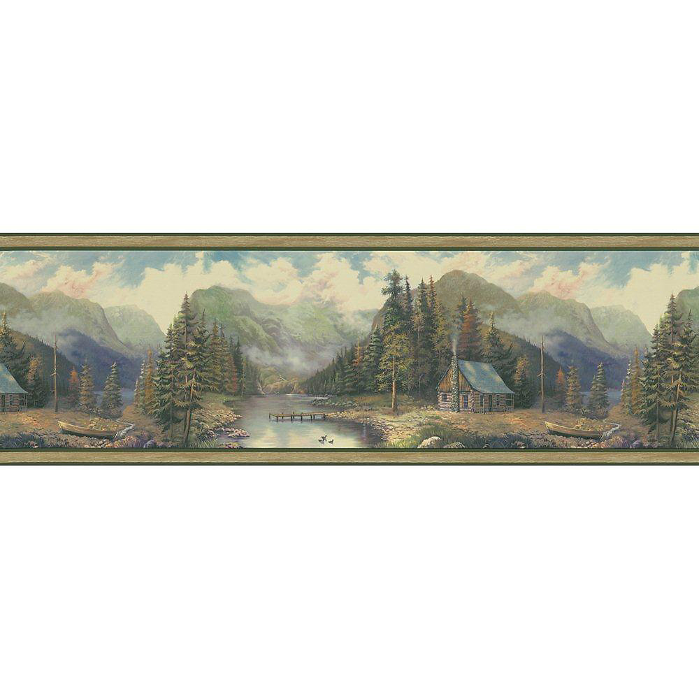 9 In. H Green Forest Lodge Scenic Border