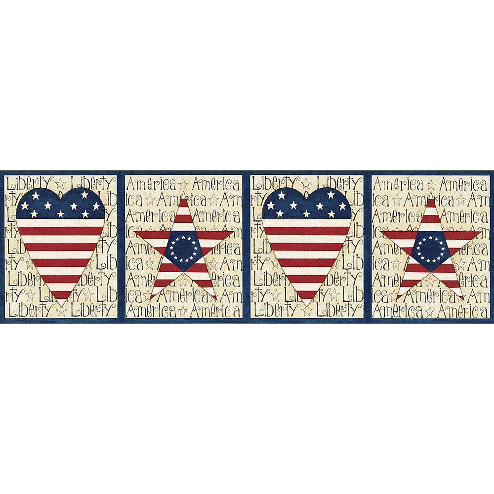 6.5 In. H Blue Stars and Stripes Border